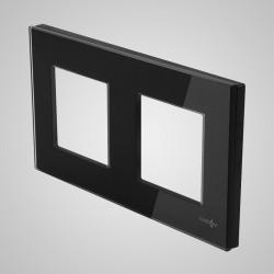 Ramka 2-krotna (86x158mm) szklana, czarna