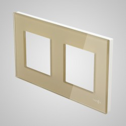 Ramka 2-krotna (86x158mm) szklana, złota