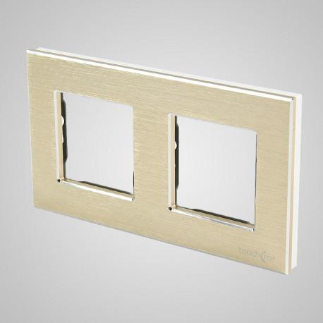 Włącznik dotykowy Touchme: ramka 2-krotna (86x158mm) aluminium, złota