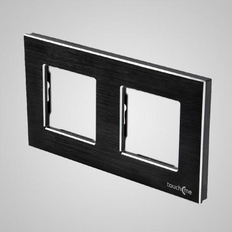Włącznik dotykowy Touchme: ramka 2-krotna (86x158mm) aluminium, czarna
