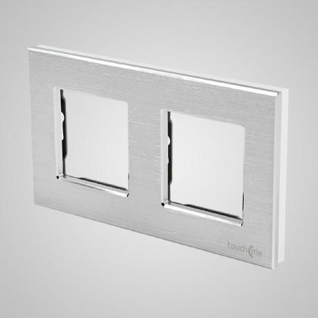 Włącznik dotykowy Touchme: ramka 2-krotna (86x158mm) aluminium, srebrna