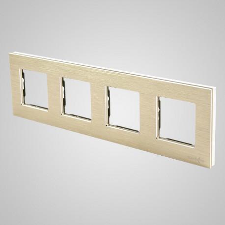Włącznik dotykowy Touchme: ramka 4-krotna (86x299mm) aluminium, złota