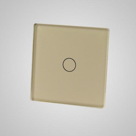Włącznik dotykowy Touchme: mały panel dotykowy 47x47mm szklany, łącznik pojedynczy, złoty