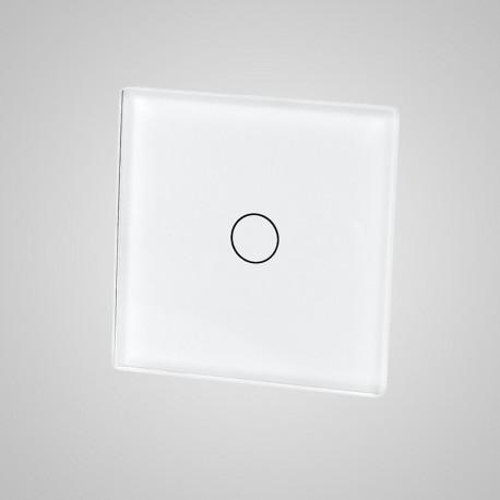 Włącznik dotykowy Touchme: mały panel dotykowy 47x47mm szklany, łącznik pojedynczy, biały