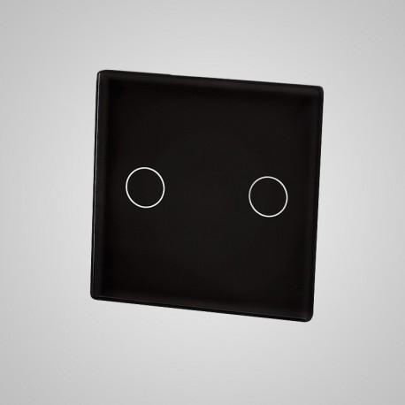 Włącznik dotykowy Touchme: mały panel dotykowy 47x47mm szklany, łącznik podwójny, czarny
