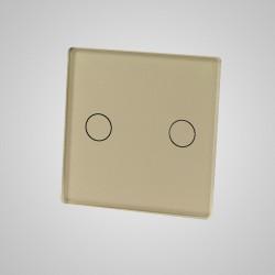 Mały panel dotykowy 47x47mm szklany, łącznik podwójny, złoty