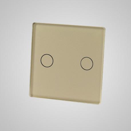 Włącznik dotykowy Touchme: mały panel dotykowy 47x47mm szklany, łącznik podwójny, złoty