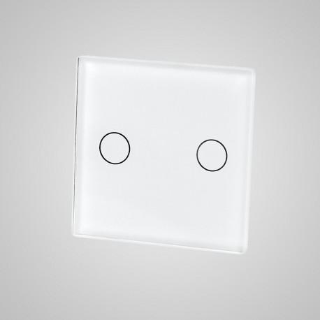 Włącznik dotykowy Touchme: mały panel dotykowy 47x47mm szklany, łącznik podwójny, biały