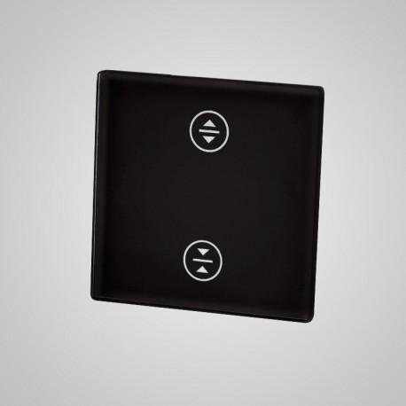 Włącznik dotykowy Touchme: mały panel dotykowy 47x47mm szklany, żaluzjowy, czarny