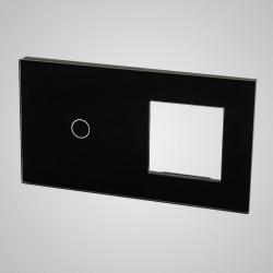 Duży panel (86x158) szklany, 1 x łącznik pojedynczy, 1 x ramka, czarny