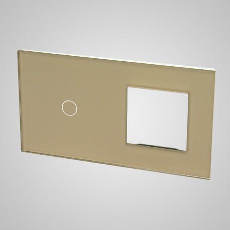 Duży panel (86x158) szklany, 1 x łącznik pojedynczy, 1 x ramka, złoty
