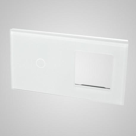 Duży panel (86x158) szklany, 1 x łącznik pojedynczy, 1 x ramka, biały