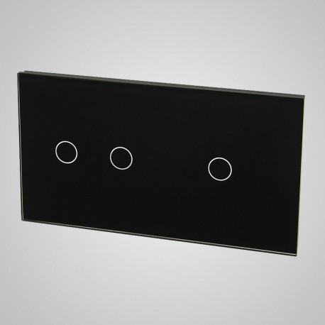Duży panel (86x158) szklany, 1 x łącznik podwójny, 1 x łącznik pojedynczy, czarny