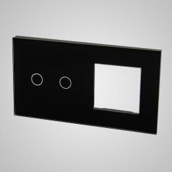 Duży panel (86x158) szklany, 1 x łącznik podwójny, 1 x ramka, czarny
