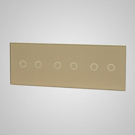 Duży panel (86x228) szklany, 3 x łącznik podwójny, złoty