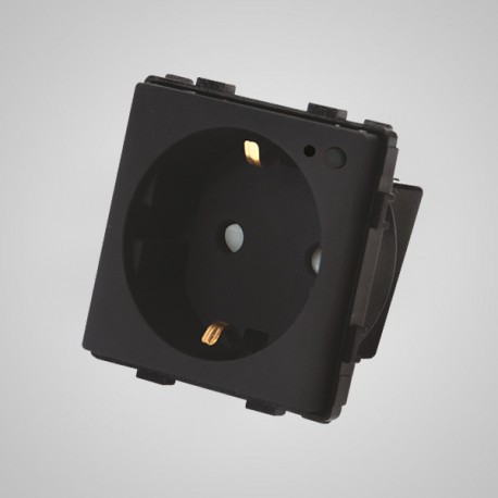 Gniazdo schuko ze wskaźnikiem LED, z przyciskiem ON/OFF, modułowe, czarne