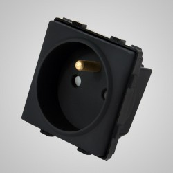 Gniazdo z bolcem, modułowe, czarne