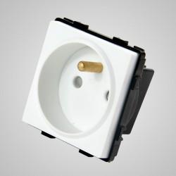 Gniazdo z bolcem, modułowe, białe