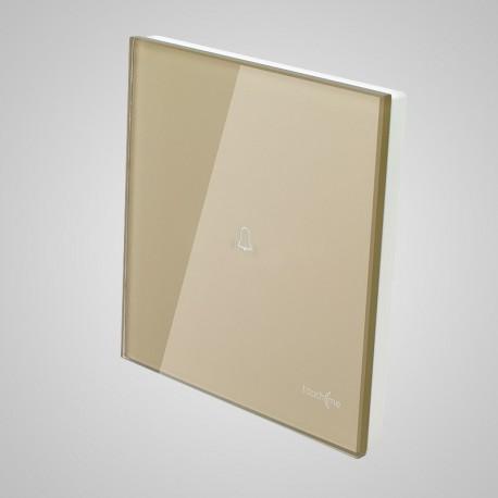 Włączniki dotykowe Touchme: duży panel dotykowy 86x86mm szklany, dzwonek, złoty