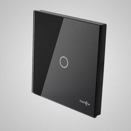 Włączniki dotykowe Touchme: duży panel dotykowy 86x86mm szklany, łącznik pojedynczy, czarny