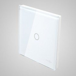 Duży panel dotykowy 86x86mm szklany, łącznik pojedynczy, biały