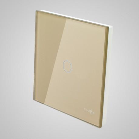 Włączniki dotykowe Touchme: duży panel dotykowy 86x86mm szklany, łącznik pojedynczy, złoty