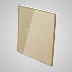 Duży panel dotykowy 86x86mm szklany, łącznik podwójny, złoty