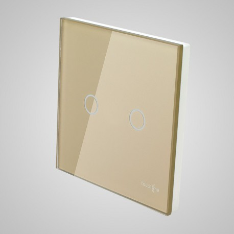 Włączniki dotykowe Touchme: duży panel dotykowy 86x86mm szklany, łącznik podwójny, złoty