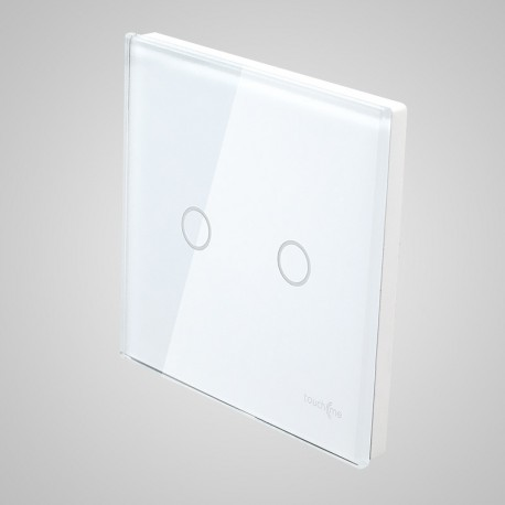 Włączniki dotykowe Touchme: duży panel dotykowy 86x86mm szklany, łącznik podwójny, biały